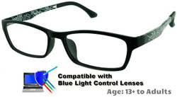 Techno - Black Glasses: Compatible with Optional Blue Light Control Lenses