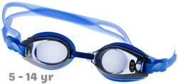 Kids Prescription Swim Goggles Blue  (Dark Grey Tinted Lenses)