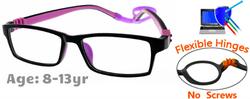 Kids Glasses G212 Black Purple: Flexible Hinges No Screws