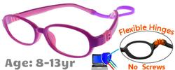 Kids Glasses G213 Purple Pink: Flexible Hinges No Screws