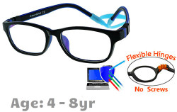 Kids Glasses G6010C1 Black/Blue: Flexible Hinges with No Screws