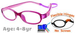 Kids Glasses G7003C58 Purple/Pink: Flexible Hinges with No Screws