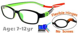 Kids Glasses G7007 Black/Green: Flexible Hinges with No Metal Screws