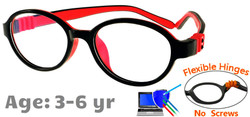 Kids Glasses G203 Black/Red: Flexible Hinges No Screws