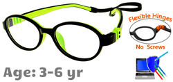 Kids Glasses G203 Black Green: Flexible Hinges No Screws