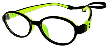 (1) Kids Glasses G203 Black Green with Flexible Hinge and Strap