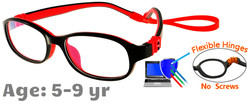 Kids Glasses G7005C1 Black/Red: Flexible Hinges with No Screws