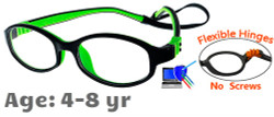 Kids Glasses G7002 Black Green: Flexible Hinges with No Screws