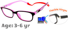 Kids Glasses TR5001 Burgundy Pink: Flexible Hinges