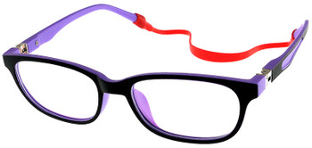 (1) Kids Glasses TR5001 Black Purple with Flexible Hinge and Strap