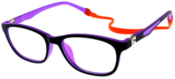 (1) Kids Glasses TR5008 Black Purple with Flexible Hinge and Strap