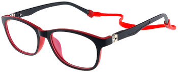 (1) Kids Glasses TR5008 Black Red with Flexible Hinge and Strap