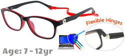 Kids Glasses TR5008 Black Red: Flexible Hinges
