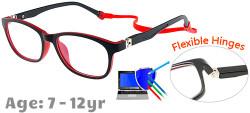 Kids Glasses TR5008 Black Red: Flexible Hinges