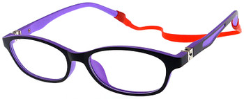 (1) Kids Glasses TR5010 Black Purple with Flexible Hinge and Strap