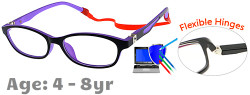 Kids Glasses TR5010 Black Purple: Flexible Hinges