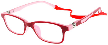 (1) Kids Glasses TR5011 Red Pink with Flexible Hinge and Strap
