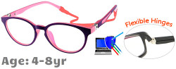 Kids Glasses TR5012 Purple Pink: Flexible Hinges