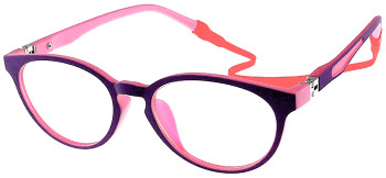 (1) Kids Glasses TR5012 Purple Pink with Flexible Hinge and Strap
