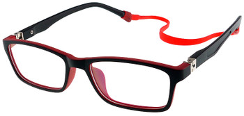 (1) Kids Glasses TR5015 Black Red with Flexible Hinge and Strap