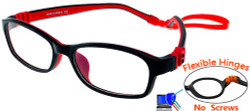 Kids Glasses G7008 Black/Red: Fully Bendable Hinges with No Metal Screws