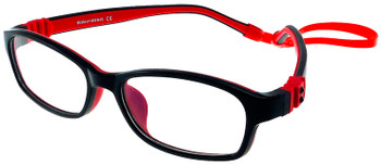 (1) Kids Prescription Glasses with Fully Flexible Hinges G7008 Black/Red
