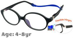 Kids Glasses TR5003 Black Grey: Flexible Hinges