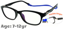 Kids Glasses TR5008 Black with Strap and Ear Hooks and Blue Control