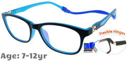Kids Glasses TR5008 Dark BLUE with Strap and Ear Hooks and Blue Control
