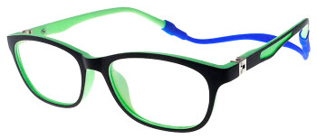 (1) Kids Glasses TR5008 Black Green with Flexible Hinge and Strap