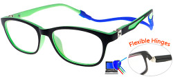 Kids Glasses TR5008 Black Green with Strap and Ear Hooks and Blue Control