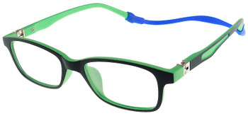(1) Kids Glasses TR5011 Black Green with Flexible Hinge and Strap