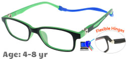 Kids Glasses TR5011 Black Green: Flexible Hinges