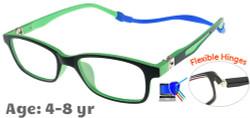 Kids Glasses TR5011 Black Green: Flexible Hinges