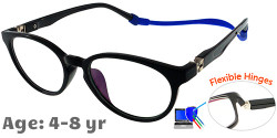 Kids Glasses TR5012 Black: Flexible Hinges