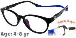 Kids Glasses TR5012 Black: Flexible Hinges
