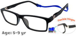 [5-9 yrs] Kids Glasses - Flexible TR5013C23 Black/Grey  47 Size + Removable Strap & Ear Hook