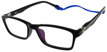 (1) Kids Glasses TR5015 Black with Flexible Hinge and Strap