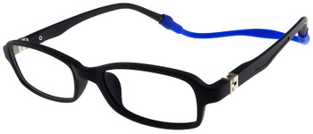 (1) Kids Glasses TR5016 Black with Flexible Hinge and Strap
