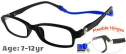 [7-12 yrs] Kids Glasses - Flexible TR5016C285 Matt Black 46 Size + Removable Strap & Ear Hook
