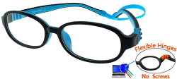 Kids Glasses G213 Black Blue: Flexible Hinges No Screws