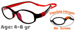 Kids Glasses G7002 Black Red: Flexible Hinges with No Screws