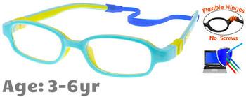 Kids Glasses C6006 Blue: Flexible Hinges No Screws