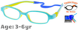 Kids Glasses C6006 Blue: Flexible Hinges No Screws