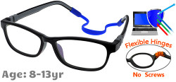 Kids Glasses C6011 Black Grey: Flexible Hinges No Screws