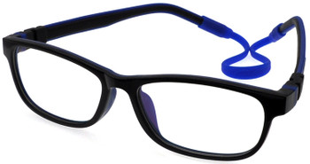 1) Kids Prescription Glasses with flexible hinges C6011- Black Blue