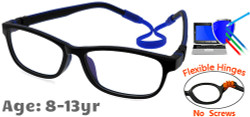 Kids Glasses C6011 Black Blue: Flexible Hinges No Screws
