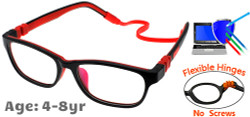 Kids Glasses G6010C4 Black/Red: Flexible Hinges with No Screws