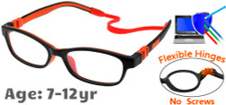 Kids Glasses C6008 Black/Orange: Flexible Hinges with No Screws