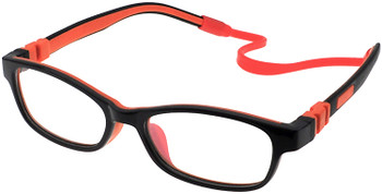 (1) Kids Prescription Glasses with Fully Flexible Hinges C6008 Black/Orange